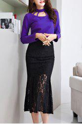 Charming Stand Collar Long Sleeve Mermaid Dress For Women -