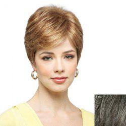 Women's Fluffy Inclined Bang Ultrashort Human Hair Wig -