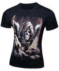 Casual Skull Printing Pullover Short Sleeves T-Shirt For Men - BLACK