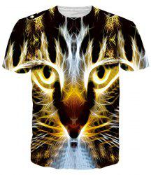 Gleamy 3D Tiger Print Round Neck Short Sleeves T-Shirt For Men -