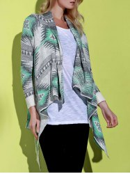 Casual Geometric Printed Long Sleeve Asymmetric Cardigan For Women - GREEN