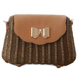 Trendy Cover and Weaving Design Shoulder Bag For Women - DEEP BROWN