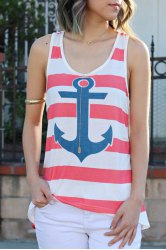Stylish Scoop Collar Sleeveless Striped Anchor Print Women's Tank Top