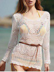 Long Sleeve Hollow Out Swimwear Cover-Ups - WHITE