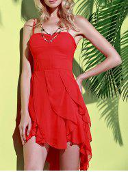 Asymmetrical Flounce Slip Gothic Dress - RED