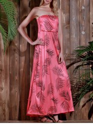 Maxi Strapless Print Summer Prom Dress - WATERMELON RED