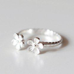 Alloy Floral Cuff Ring - SILVER ONE-SIZE
