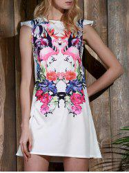 Crane and Floral Cap Sleeve Casual Shift Dress - WHITE