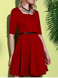 Stylish Square Neck Half Sleeve Pure Color Women's A-Line Dress - WINE RED S