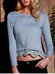 Stylish Lace Spliced Hem Long Sleeve Gray T-Shirt For Women