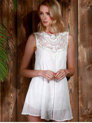 Lace Panel Chiffon Casual Summer Short A Line Dress - WHITE
