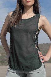 Open Side Chiffon High Low Tank Top - ARMY GREEN S