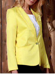 Lapel Long Sleeve One Button Blazer - YELLOW