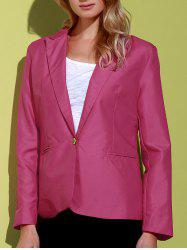 Lapel Long Sleeve One Button Blazer