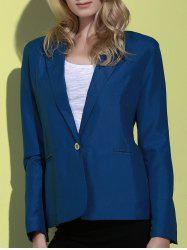 Lapel Long Sleeve One Button Blazer - DEEP BLUE
