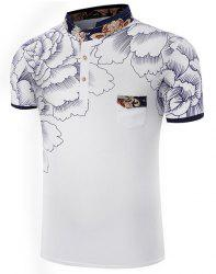 Stand Collar Floral Printing Short Sleeve Men's T-Shirt - WHITE 2XL