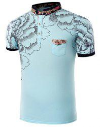 Stand Collar Floral Printing Short Sleeve Men's T-Shirt -
