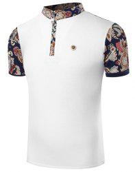 Stand Collar Floral Print Zipper Design Short Sleeve Men's T-Shirt -