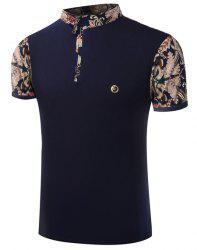 Stand Collar Floral Print Zipper Design Short Sleeve Men's T-Shirt