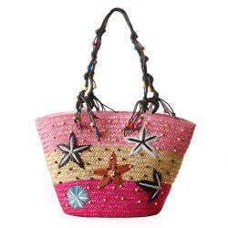 Embroidery Color Block Straw Beach Bag - PINK