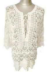 Stylish Round Neck Long Sleeve Cut Out Crochet Women's Cover Up -