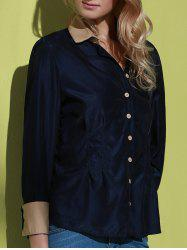 Long Sleeves Single-breasted Stitching Cuffs Ladylike Women's Formal Blouse(With Random Bow-tie)