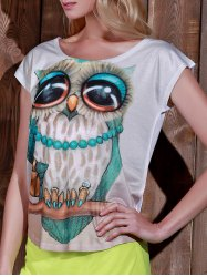 Stylish Scoop Neck Owl Print Short Sleeve T-Shirt For Women - WHITE