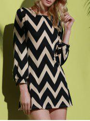 Fashionable Color Block Zigzag Printed Dress For Women - BLACK