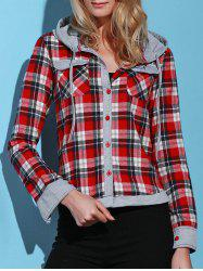 Stylish Hooded Long Sleeve Gingham Single-Breasted Women's Blouse -