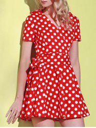 Polka Dot Short Sleeve Ball Wrap Dress - RED