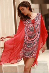Stylish Scoop Neck Bat-Wing Sleeve Geometric Print Women's Cover Up -