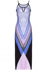 Stylish Cami Bohemian Print Slit Women's Maxi Dress