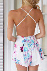 Sexy Backless Lace Spliced Printed Romper For Women