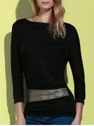 Long Sleeve Sequin Embellished Packet Buttock Cotton Blend T-Shirt -