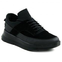 Trendy Black Colour and Splicing Design Athletic Shoes For Men -