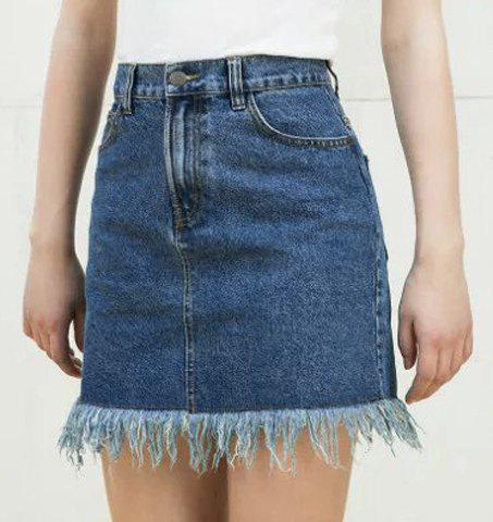 Fancy Trendy High-Waisted Bleach Wash Women's Denim Skirt