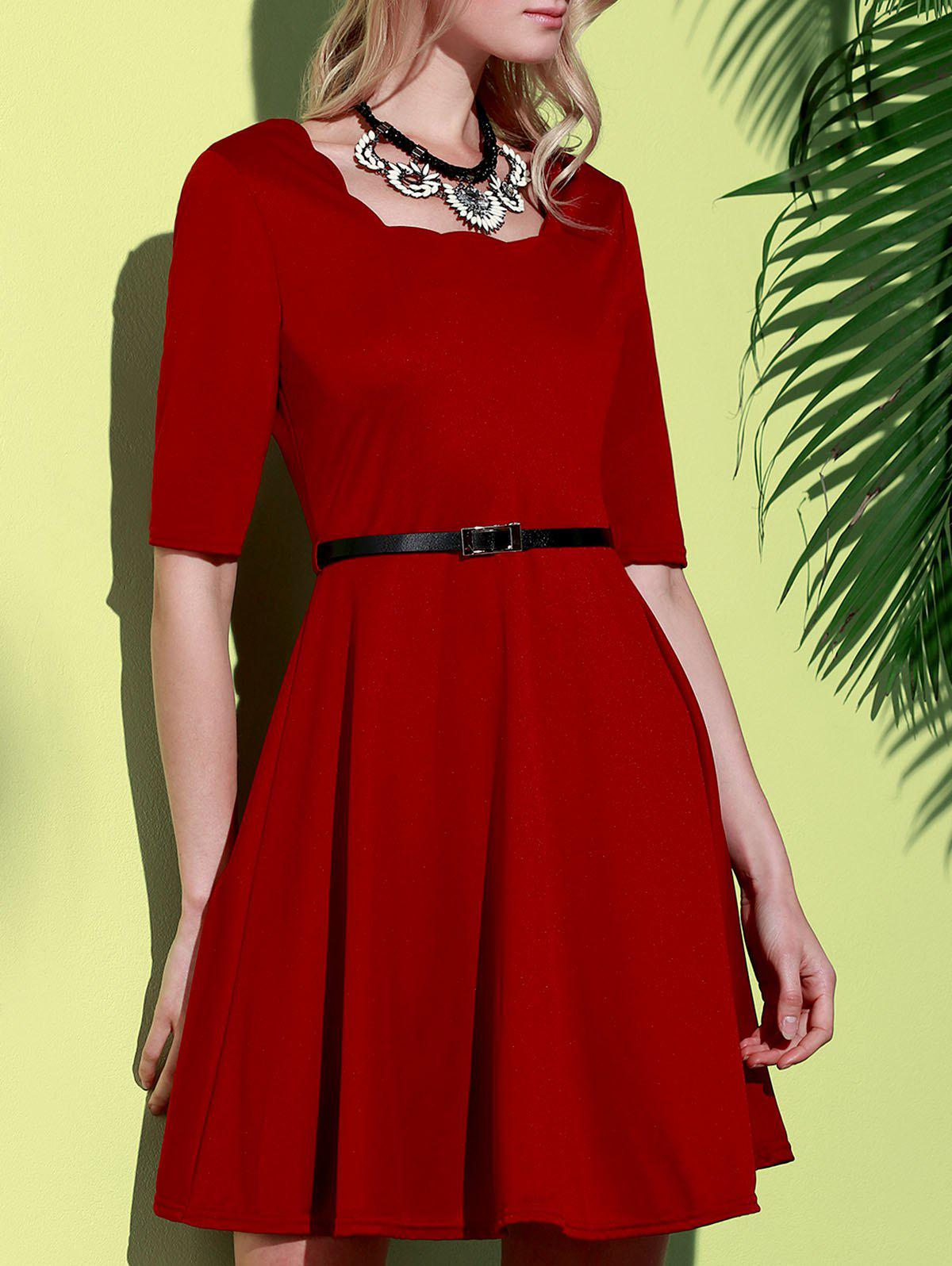 Shops Stylish Square Neck Half Sleeve Pure Color Women's A-Line Dress