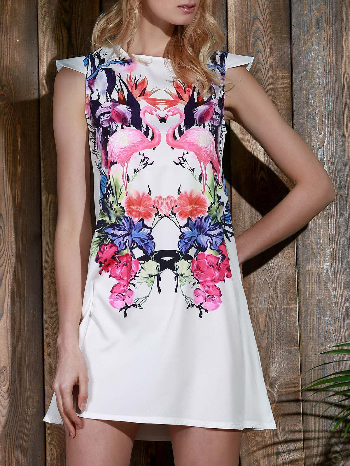 Outfits Crane and Floral Cap Sleeve Casual Shift Dress