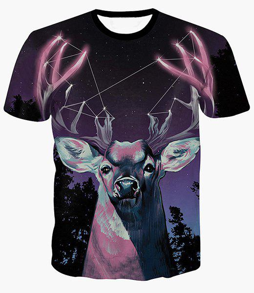 Cheap Starry Sky and Deer Print Round Neck Short Sleeves 3D T-Shirt For Men
