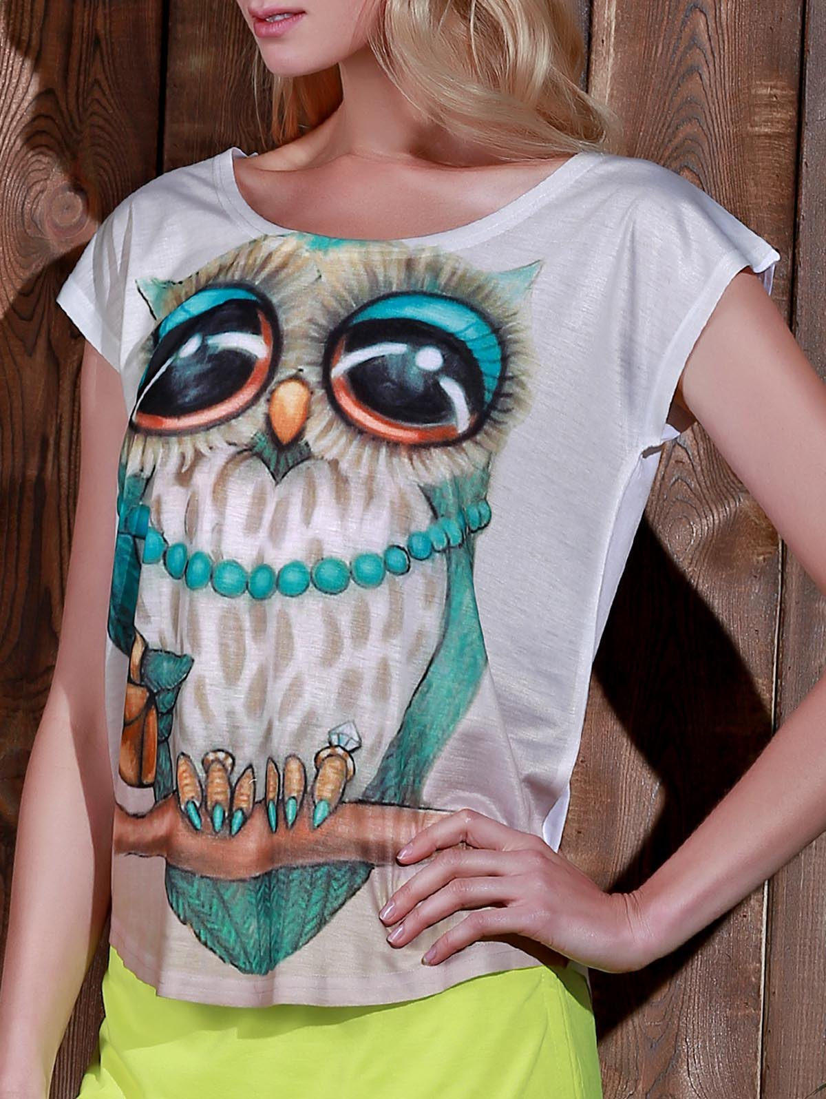 Trendy Stylish Scoop Neck Owl Print Short Sleeve T-Shirt For Women
