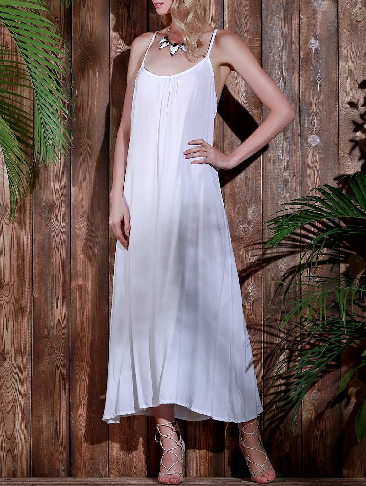 white l open back beach casual long maxi slip dress