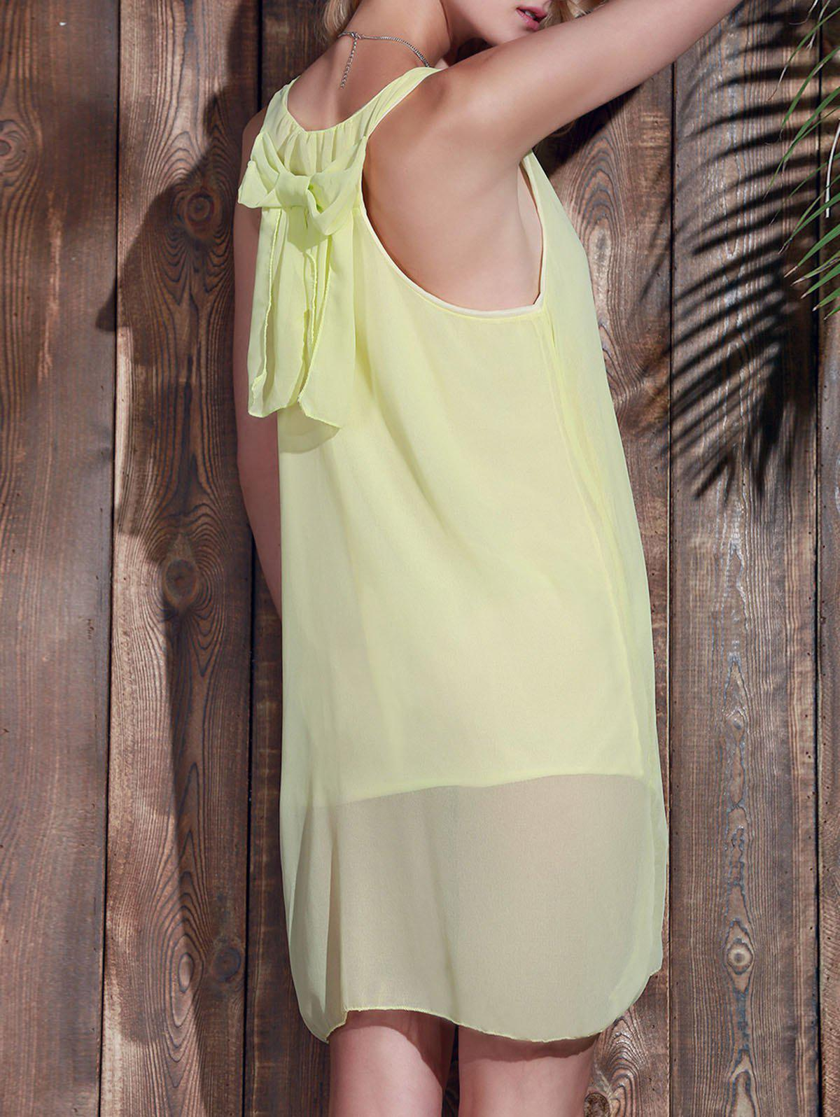 Sale Bowknot Chiffon Shift Tank Dress