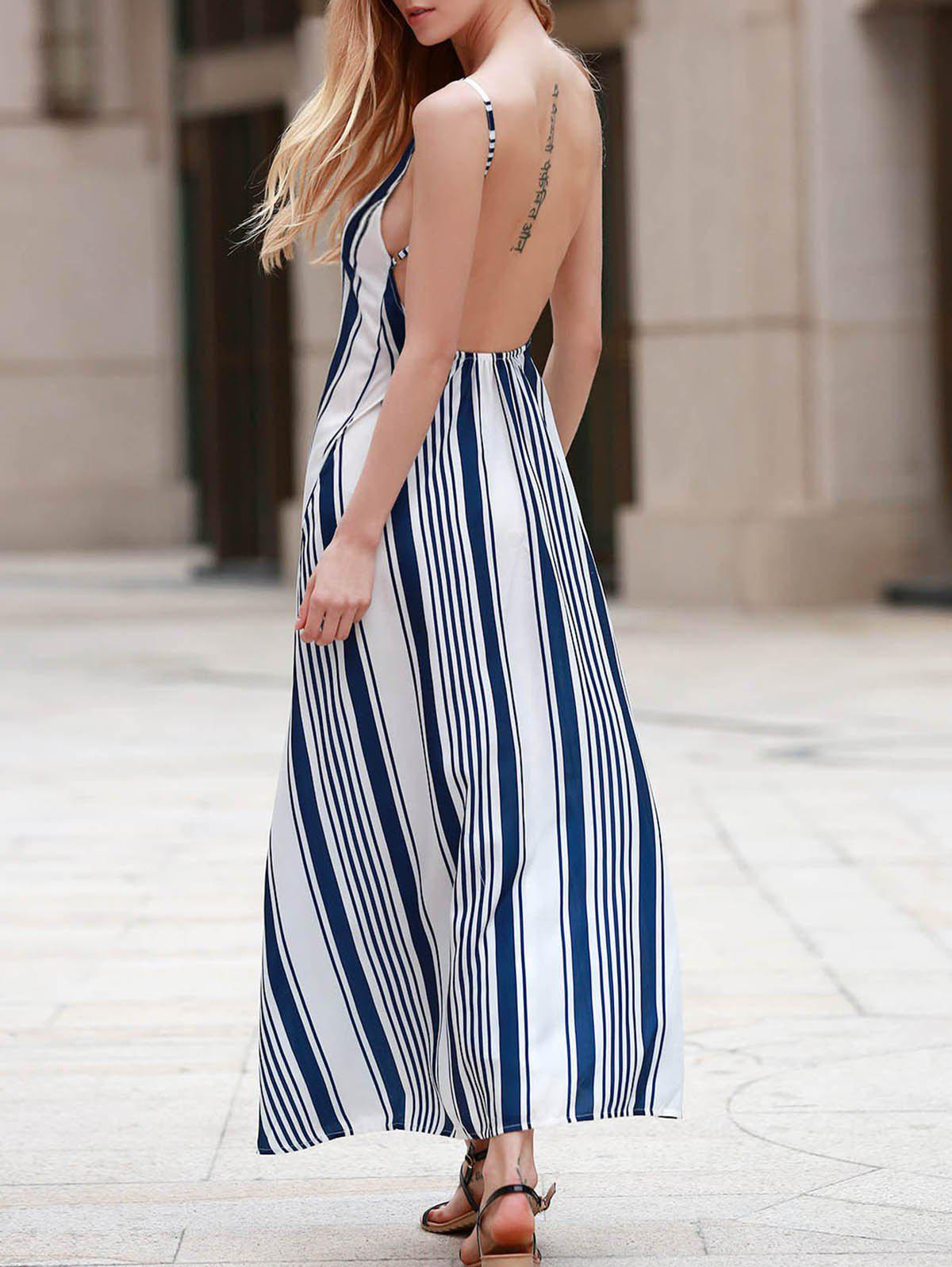 Sexy Strappy Striped Open Back Maxi Dress Women S