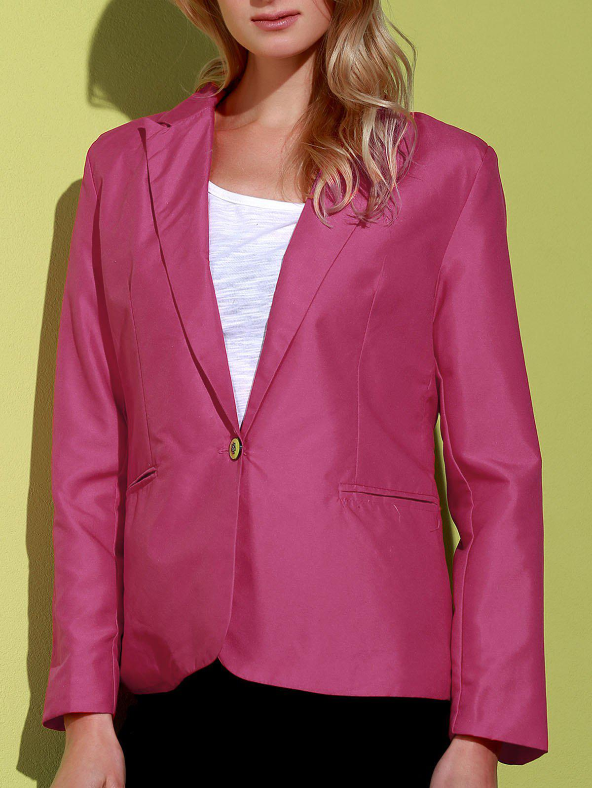 Simple Design Lapel Long Sleeve Solid Color Women's Blazer от Rosegal.com INT