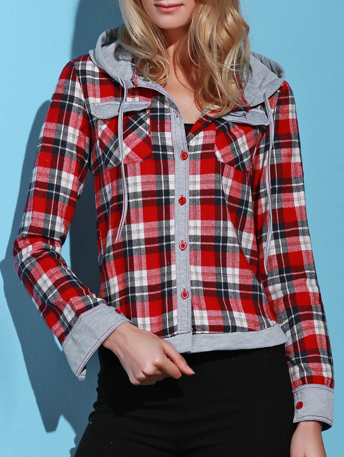 Latest Stylish Hooded Long Sleeve Gingham Single-Breasted Women's Blouse