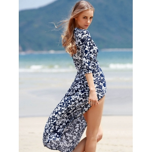 Maxi Floral Wrap Swing Dress with Slit - COLORMIX S