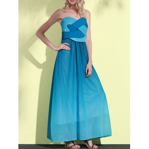 Sweetheart Neck Ombre Strapless Maxi Dress