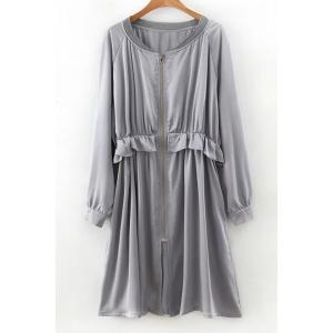 Long Sleeve Flounce Ruffles Zip-Up Trench Coat - Gray - M