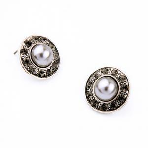Diamanted Faux Pearl Round Earrings -