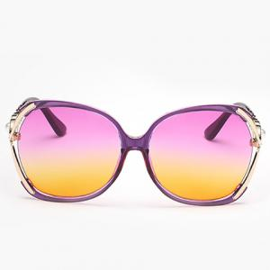 Faux Pearl Inlay Hollow Bow Gradient Sunglasses - PURPLE